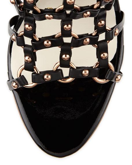 Brandy High-Heel Gladiator Sandal, Black/Rose Gold