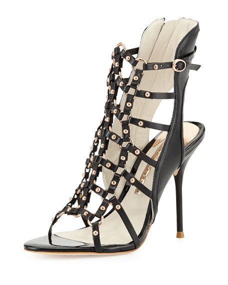 Brandy High-Heel Gladiator Sandal, Black/Rose Gold