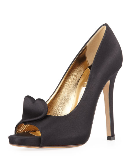 collana satin heart pump, black