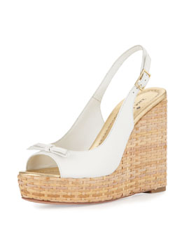 kate spade new york Della Leather Wedge Sandal, White