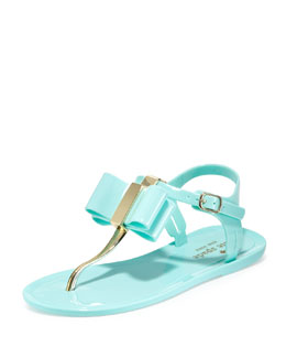 kate spade new york filo bow jelly thong sandal, seafoam