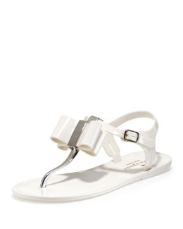 kate spade new york filo bow jelly thong sandal, cream