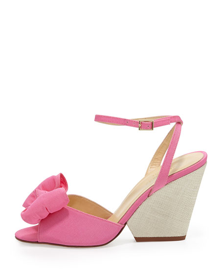 iberis bow wedge sandal, zinia pink