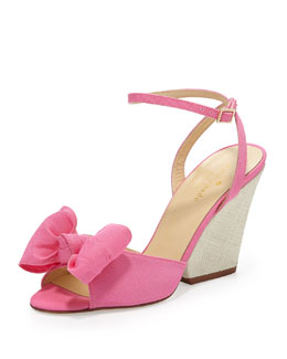 kate spade new york iberis bow wedge sandal, zinia pink