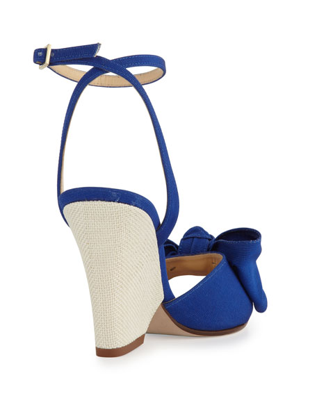 iberis bow wedge sandal, blue