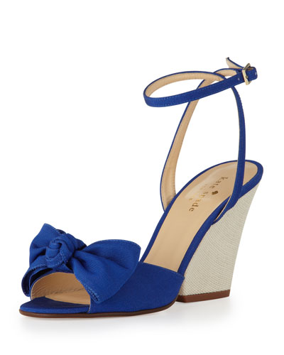 kate spade new york iberis bow wedge sandal, blue