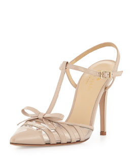 kate spade new york lello patent point-toe bow pump, powder