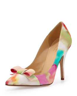 kate spade new york lillia floral-print silk bow pump