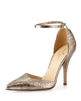 kate spade new york liliana metallic snake-print pump
