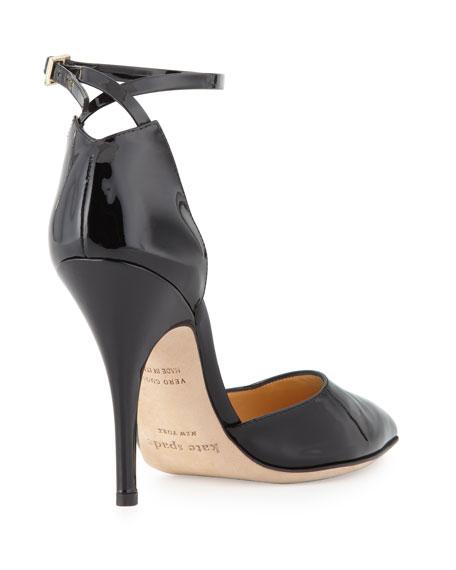 lilliana patent point-toe pump, black