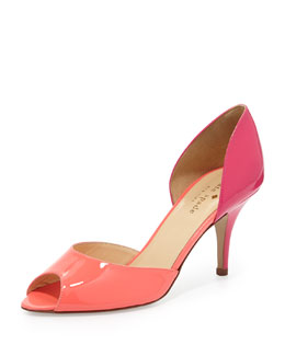 kate spade new york sage two-tone peep-toe d'orsay pump, geranium/lipstick pink
