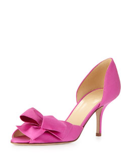 kate spade new york sala satin d'orsay bow pump, fuchsia