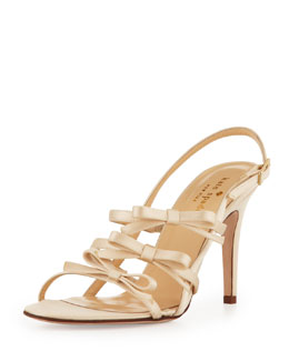 kate spade new york sally strappy satin bows sandal, champagne