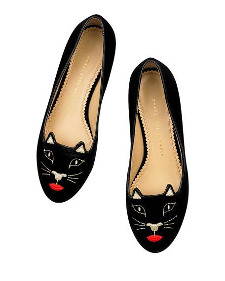 Kiss Me Kitty Velvet Slipper, Black