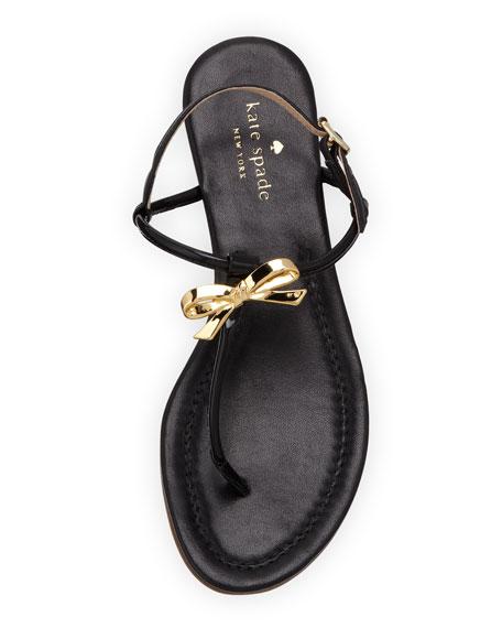 tracie patent bow thong sandal, black