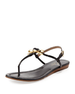 kate spade new york tracie patent bow thong sandal, black