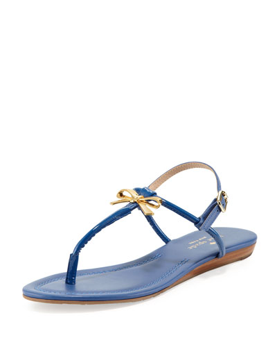 kate spade new york tracie patent bow thong sandal, cobalt