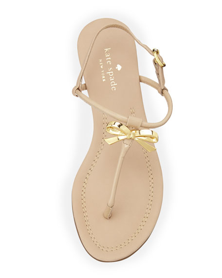 tracie patent bow thong sandal, powder