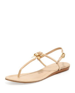 kate spade new york tracie patent bow thong sandal, powder