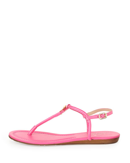 tracie patent bow thong sandal, zinnia pink