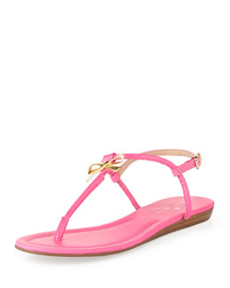 kate spade new york tracie patent bow thong sandal, zinnia pink