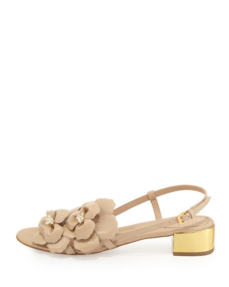 verbena patent flower sandal, powder