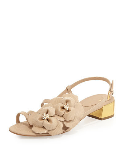 kate spade new york verbena patent flower sandal, powder