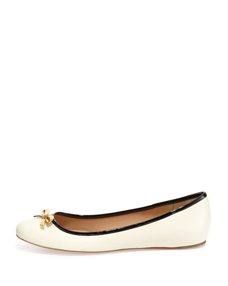 Villa Leather Bow Flat, Cream