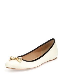 kate spade new york Villa Leather Bow Flat, Cream