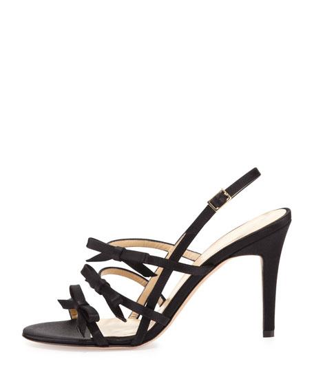 sally strappy bows satin sandal, black