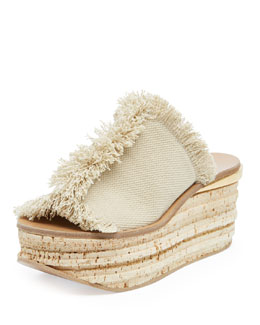 Chloe Fringe Canvas Cork Slide Wedge