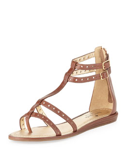 kate spade new york adagio leather gladiator sandal, luggage