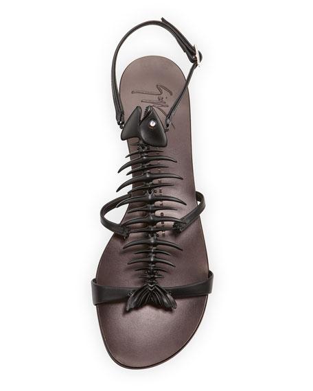 Fishbone Flat Sandal, Black