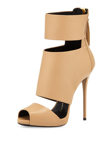 High-Heel Banded Peep-Toe Cage Bootie, Tan