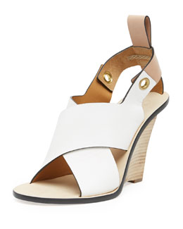 Chloe Crisscross Cantilever Runway Wedge, White