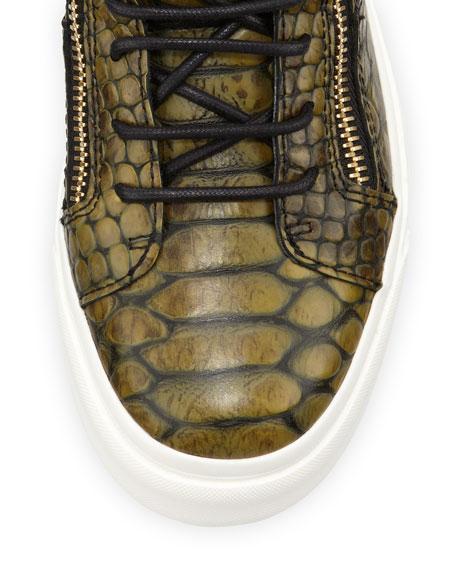 Snake-Print Zip High-Top Sneaker, Green