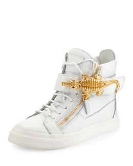 Giuseppe Zanotti Crocodile Side Zip Hi-Top Sneaker, White