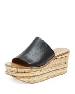 Chloe Slide Cork Wedge Sandal