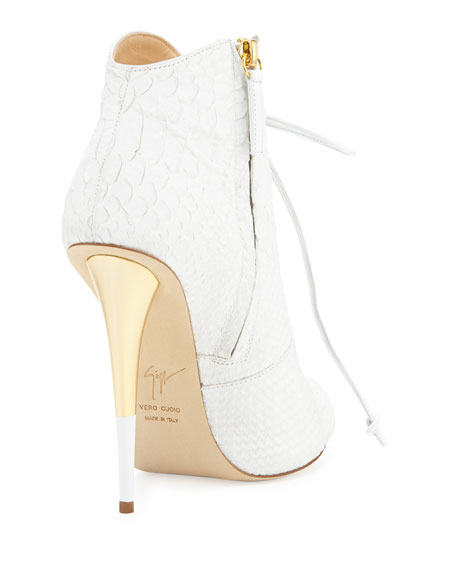 Lace-Up Python-Print Leather Bootie, White