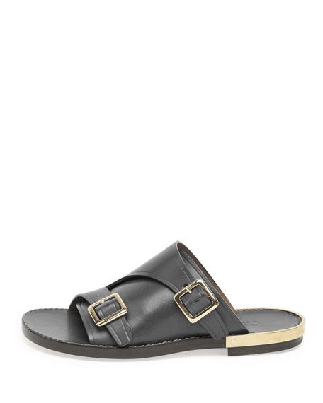 Double-Buckle Flat Leather Sandal, Black