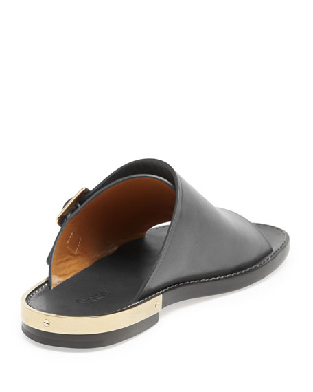 Chloe Double Buckle Flat Leather Sandal Black