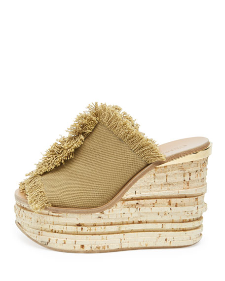 Fringe Canvas Wedge Sandal, Military