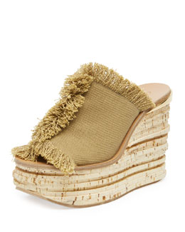 Chloe Fringe Canvas Wedge Sandal, Military