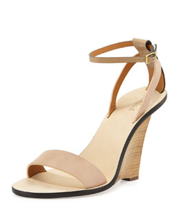 Chloe Strappy Ankle-Wrap Floating Wedge Sandal