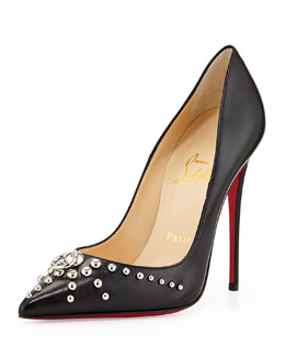 Christian Louboutin Door Knock Leather Red Sole Pump, Black