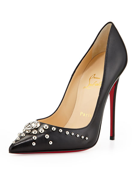 Door Knock Leather Red Sole Pump, Black