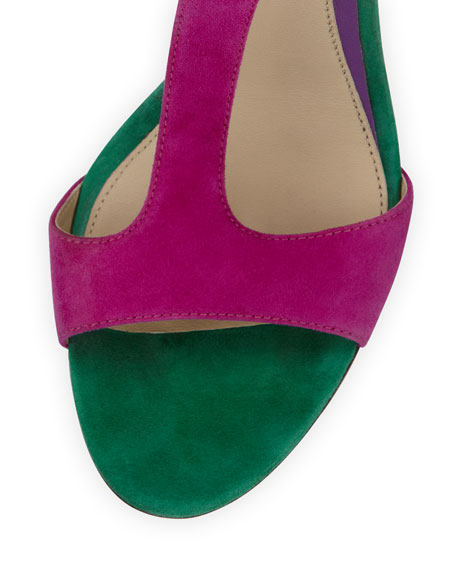 Leigha Suede T-Strap Sandal, Red/Green