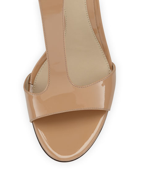 Leigha Patent T-Strap Sandal, Natural