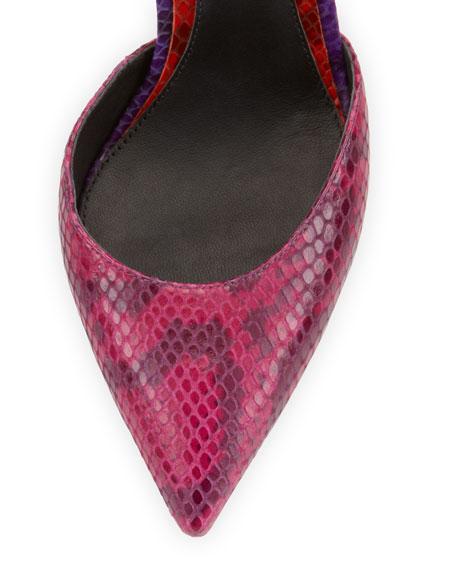 Mariela Snake Point-Toe Pump, Dark Pink