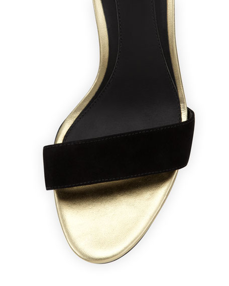 Roberta Suede Wedge Sandal, Black/Gold